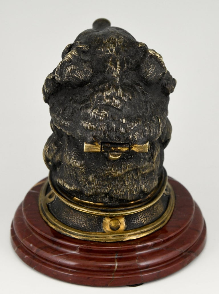 19th Century Antique Bronze Inkwell with Bear's Head, France, ca. 1880 For Sale