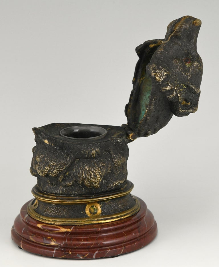 Antique Bronze Inkwell with Bear's Head, France, ca. 1880 For Sale 3