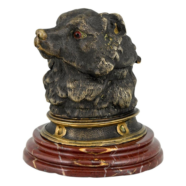 Antique Bronze Inkwell with Bear's Head, France, ca. 1880 For Sale