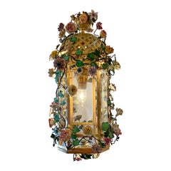 Antique Bronze Lantern with Dresden Flowers, circa 1900