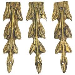 Antique Bronze Leaves Furniture Applique Set from Belgium