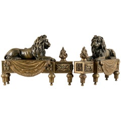 Antique Bronze Lion Form Chenets