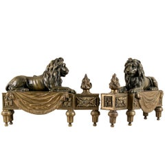 Antique Bronze Lion Form Chenets