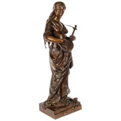 Antique Bronze Maiden Playing a Lute, by Albert Ernst Carrier, 19th Century