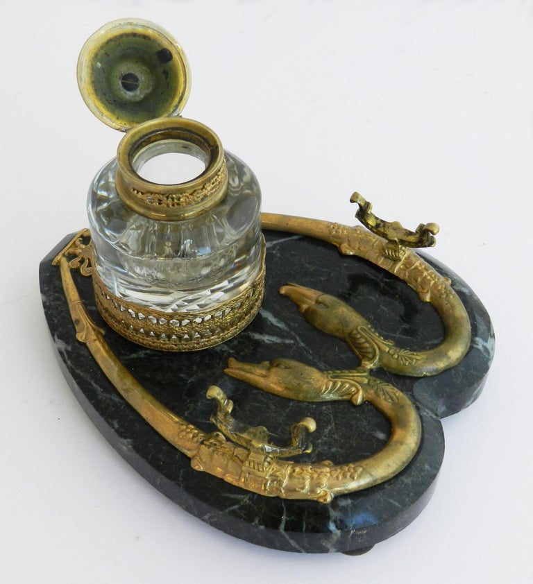 Antique Bronze Marble Inkwell Desk Crystal Serpent Inkstand French, c1880 In Good Condition For Sale In , FR