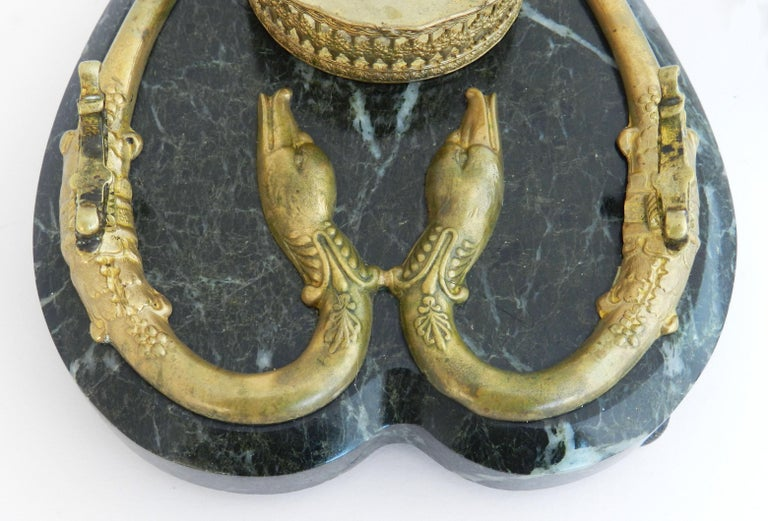 Antique Bronze Marble Inkwell Desk Crystal Serpent Inkstand French, c1880 For Sale 2