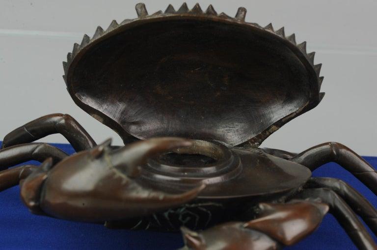 Antique Bronze Meiji Okimono Inkpot of a Crab, 19th Century, Japan, Japanese For Sale 2