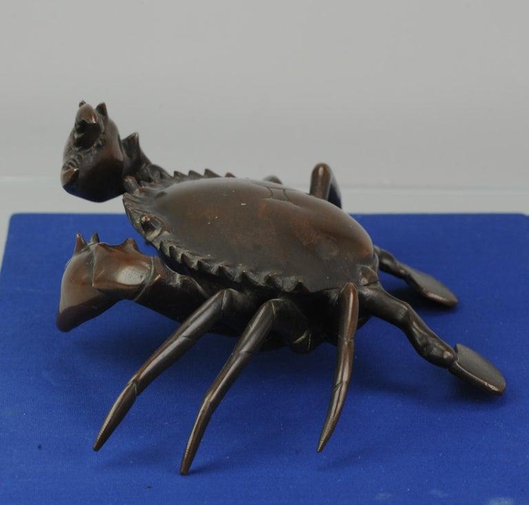 Antique Bronze Meiji Okimono Inkpot of a Crab, 19th Century, Japan, Japanese For Sale 6