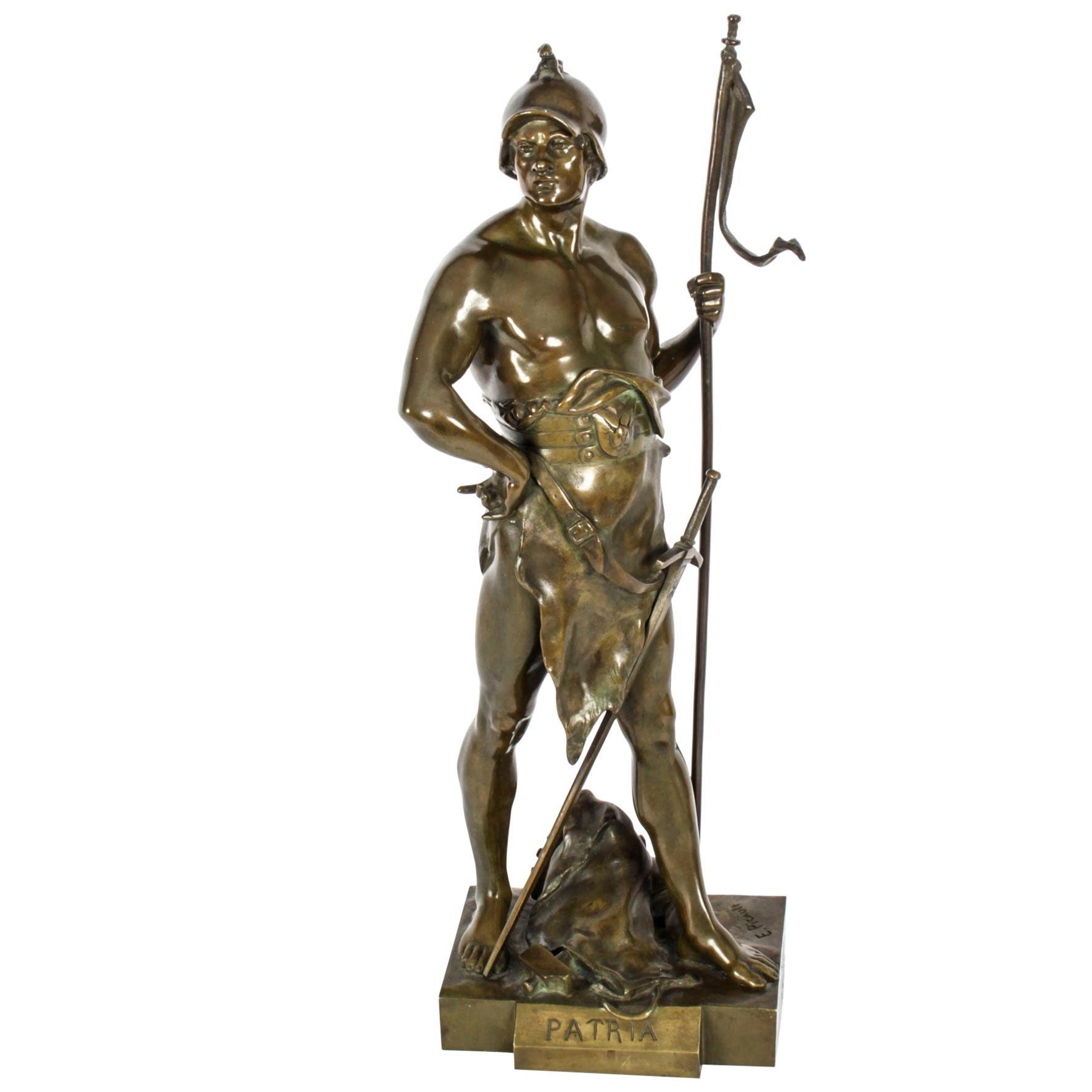 "Antique Bronze Mythological Warrior ""Honor Patria"" Emile Picault, 19th C"
