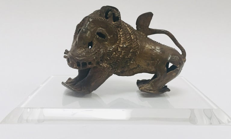 Tribal Antique Bronze of a Mythical Lion Beast For Sale