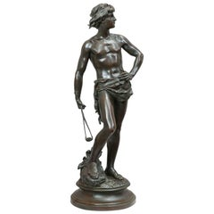 Antique Bronze of David Holding His Slingshot Ready for Action