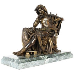 Antique Bronze of Orpheus, Albert-Ernest Carrier-Belleuse, 19th Century