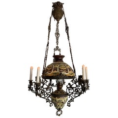 Antique Bronze Oil Lamp with Six-Light Candle Chandelier & Rare Majolica Shade