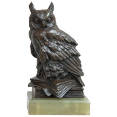 Antique Bronze Owl Mounted on Green Onyx Base, Austrian, circa 1910