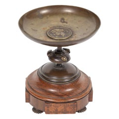 Antique Bronze Pedestal Dish with Medallion and Scarabs