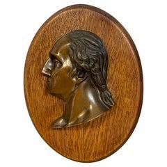Antique Bronze Portrait Plaque of George Washington, C 1880