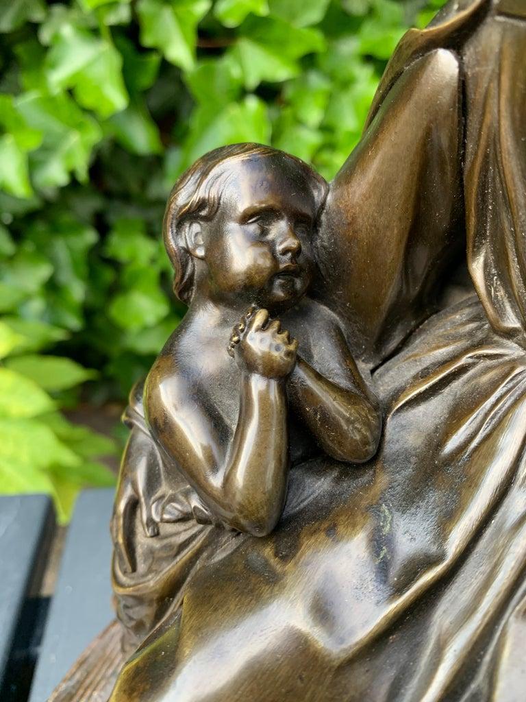 Antique Bronze Religious Art Sculpture / Statue Depicting Christ with Children For Sale 4
