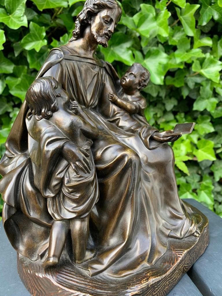 Antique Bronze Religious Art Sculpture / Statue Depicting Christ with Children For Sale 8
