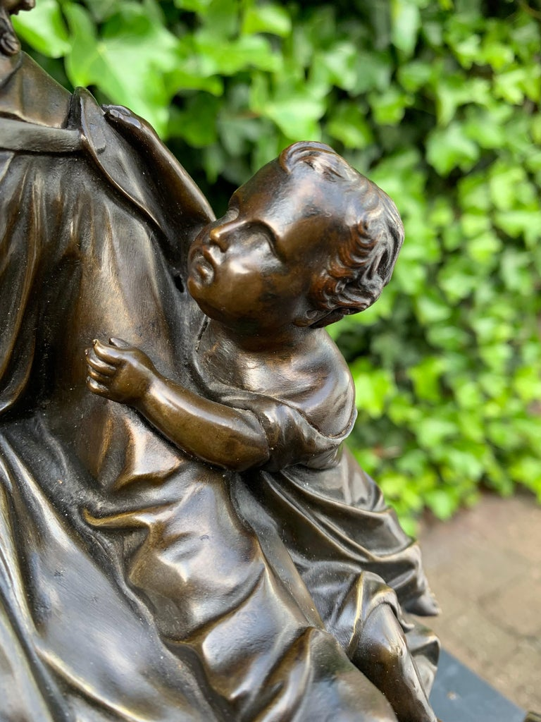 Antique Bronze Religious Art Sculpture / Statue Depicting Christ with Children For Sale 11