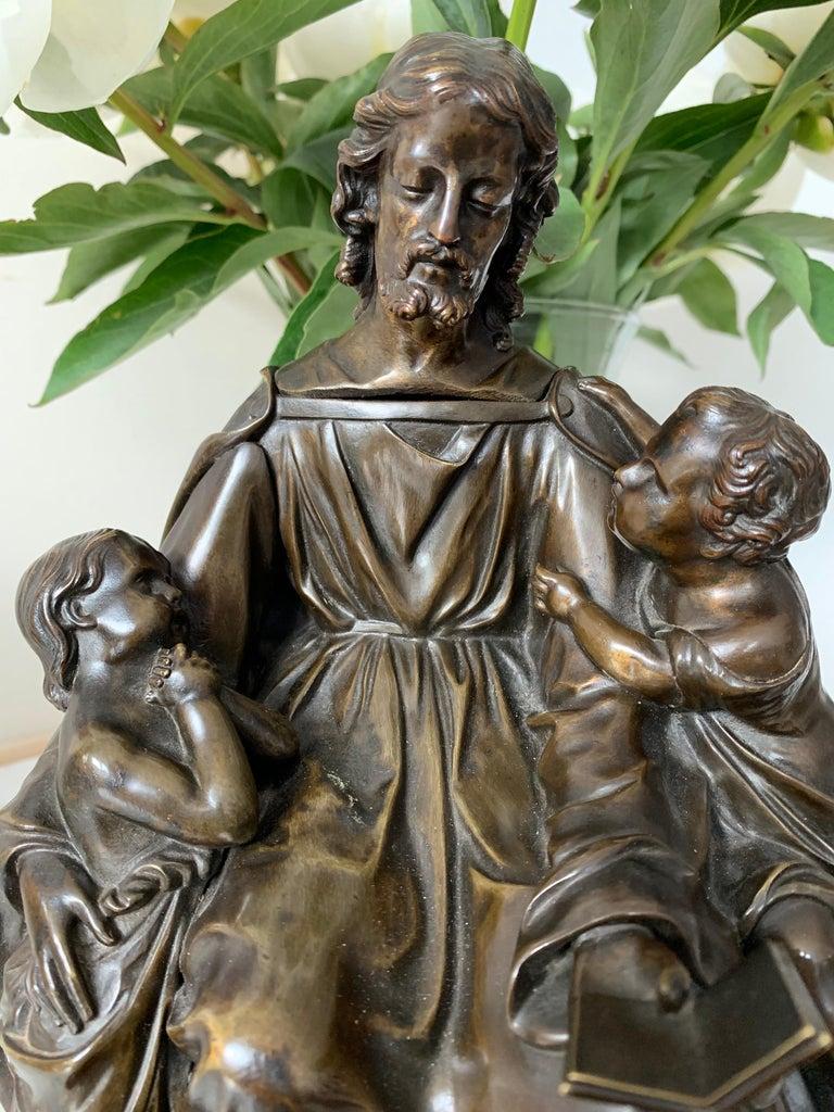 Gothic Revival Antique Bronze Religious Art Sculpture / Statue Depicting Christ with Children For Sale