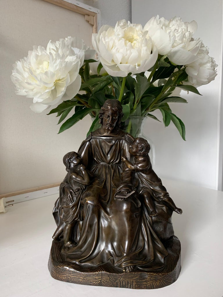 19th Century Antique Bronze Religious Art Sculpture / Statue Depicting Christ with Children For Sale