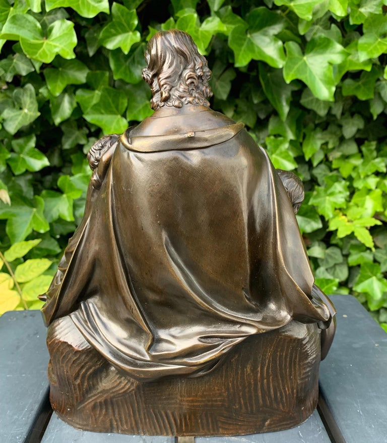 Antique Bronze Religious Art Sculpture / Statue Depicting Christ with Children For Sale 2