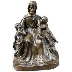 Antique Bronze Religious Art Sculpture / Statue Depicting Christ with Children