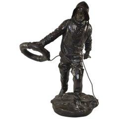 Antique Bronze Sailor by Henryk Kossowski