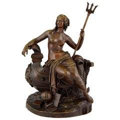 Antique Bronze Sculpture Britannia Thames Tunnel Sir Marc Brunel 1841