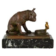 Antique Bronze Sculpture Bulldog with Chick E.M. Samson, 1910