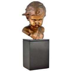 Antique Bronze Sculpture Bust of a Boy, Cupid Signed Louis, France 1900