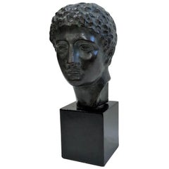 Antique Bronze Sculpture, Classic Bronze Bust Casting of Young Greek