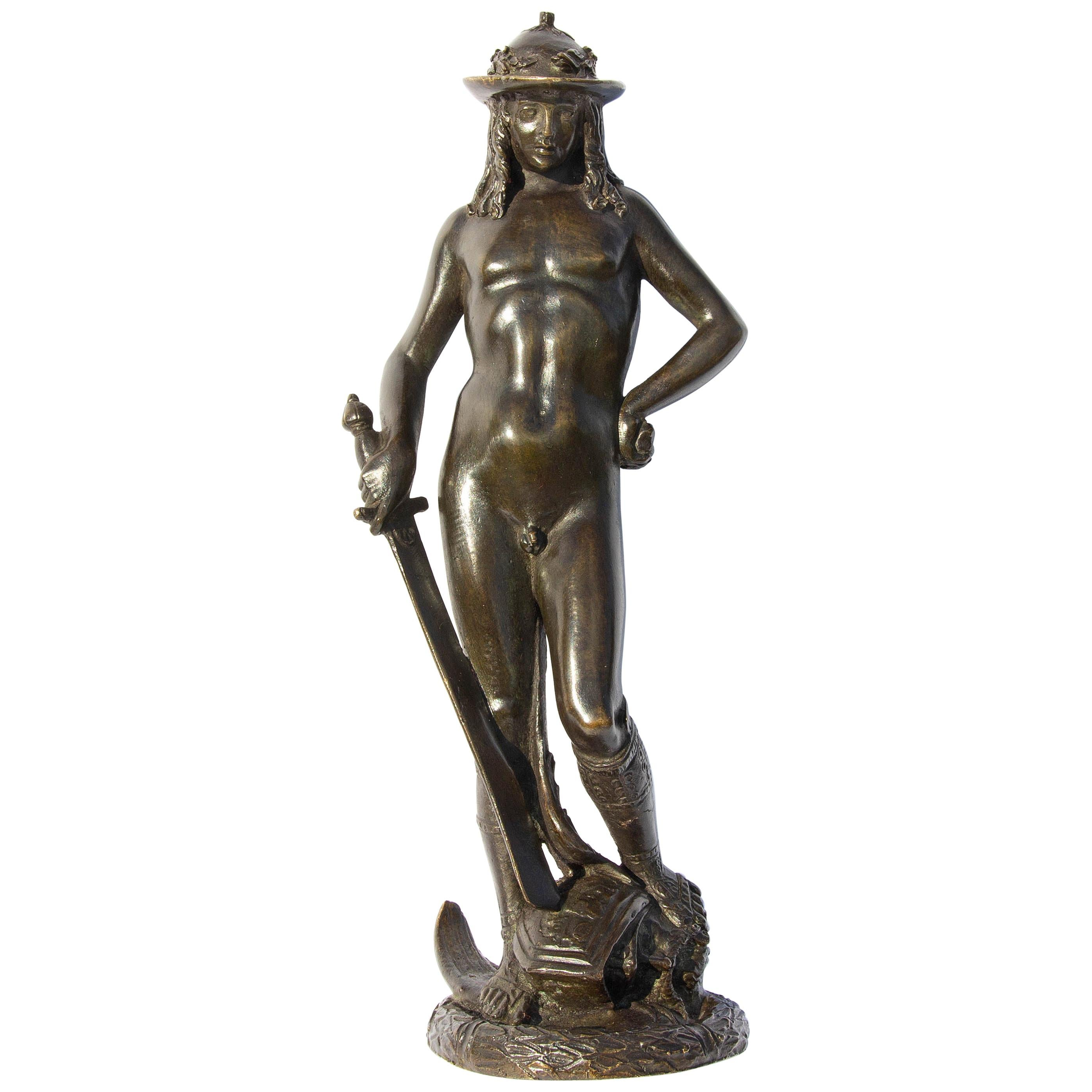 Vintage Figurine Gift Idea Bronze Sculpture on Marble Base David/'s Victory over the Goliath