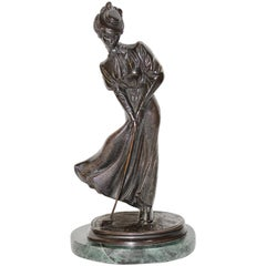 Antique Bronze Sculpture, Elegant Lady Playing Golf
