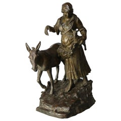 Antique Bronze Sculpture Grouping of Girl with Lamb and Donkey, 19th Century