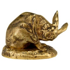Antique Bronze Sculpture of a Hare Washing Charles Gremion, France, 1900