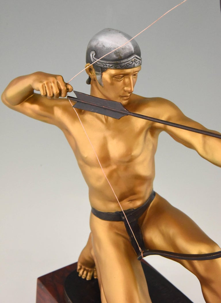 Antique Bronze Sculpture of a Male Nude Archer by Rudolf Kaesbach  1900 For Sale 2