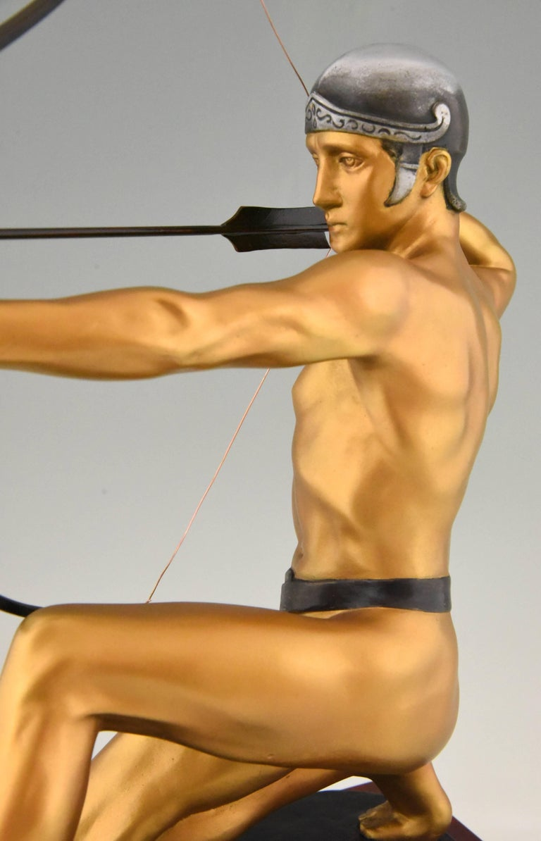 Antique Bronze Sculpture of a Male Nude Archer by Rudolf Kaesbach  1900 For Sale 3