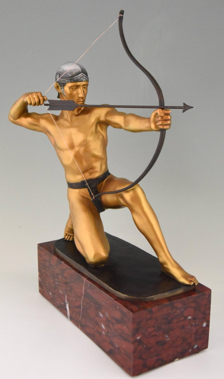 Romantic Antique Bronze Sculpture of a Male Nude Archer by Rudolf Kaesbach  1900 For Sale