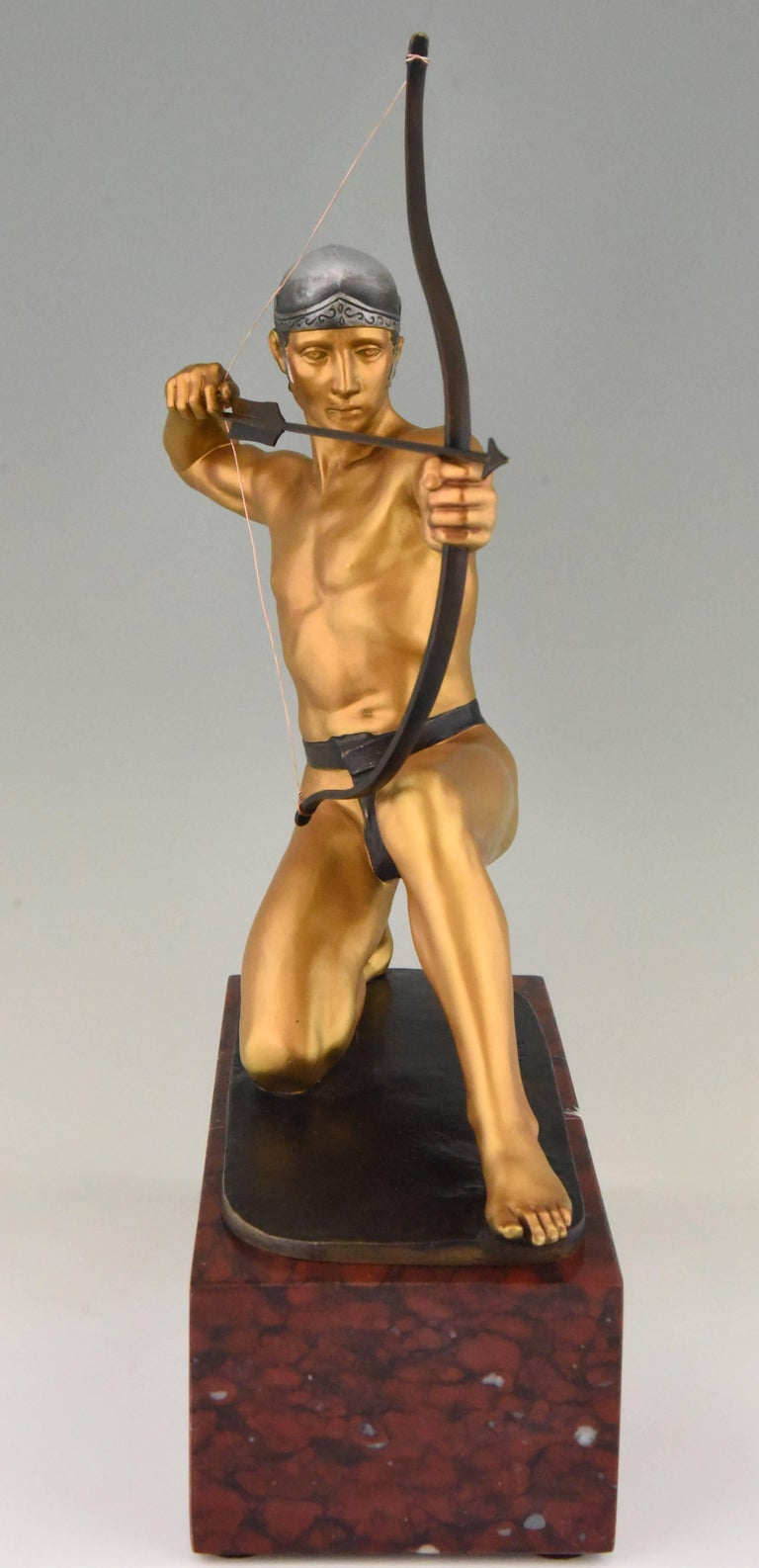 German Antique Bronze Sculpture of a Male Nude Archer by Rudolf Kaesbach  1900 For Sale