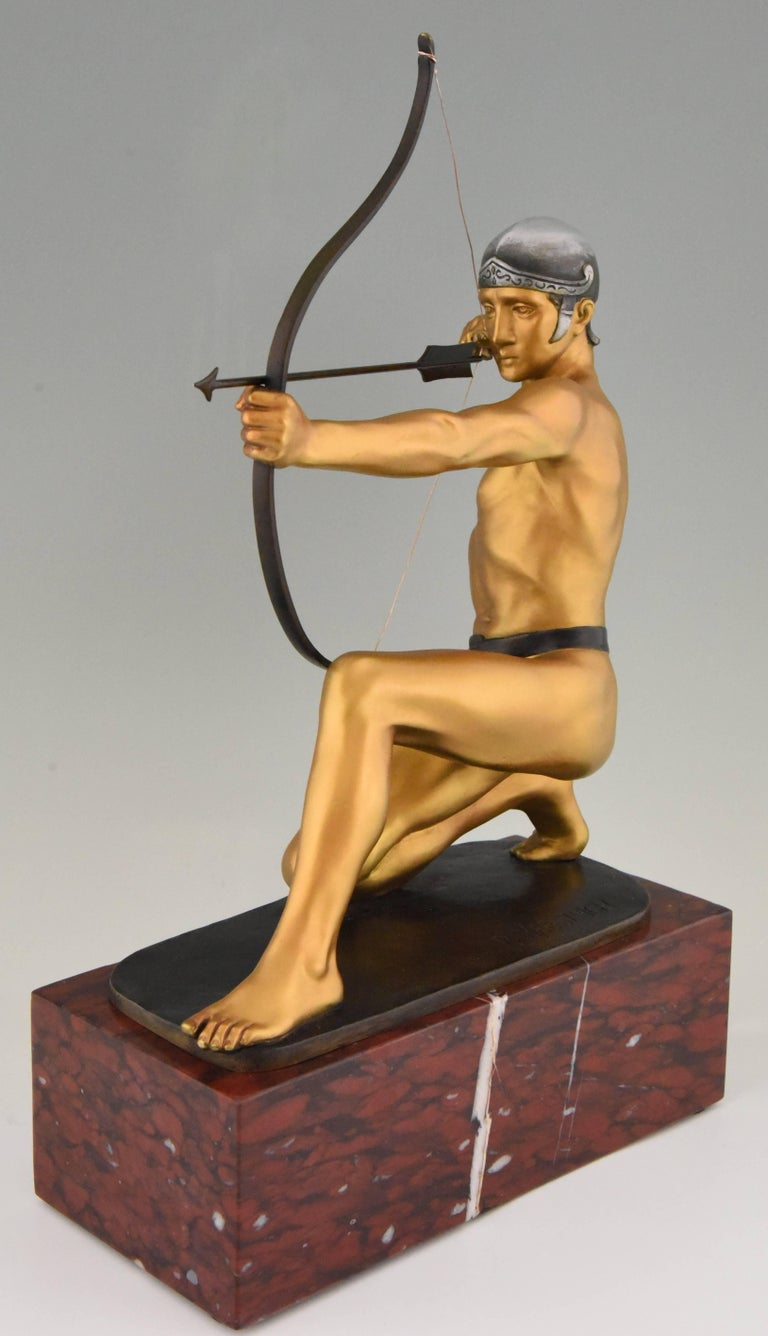 Patinated Antique Bronze Sculpture of a Male Nude Archer by Rudolf Kaesbach  1900 For Sale