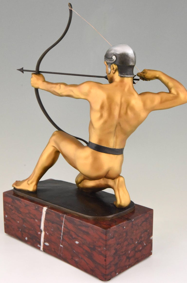 20th Century Antique Bronze Sculpture of a Male Nude Archer by Rudolf Kaesbach  1900 For Sale