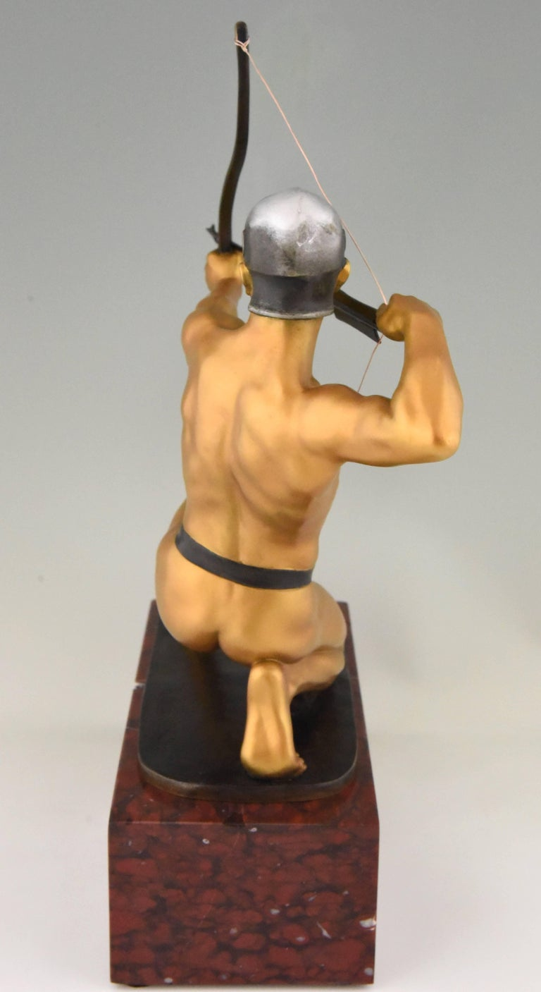 Marble Antique Bronze Sculpture of a Male Nude Archer by Rudolf Kaesbach  1900 For Sale