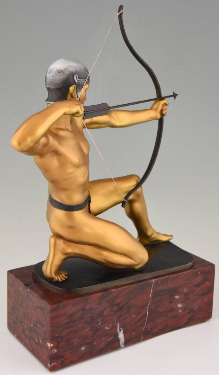 Antique Bronze Sculpture of a Male Nude Archer by Rudolf Kaesbach  1900 For Sale 1