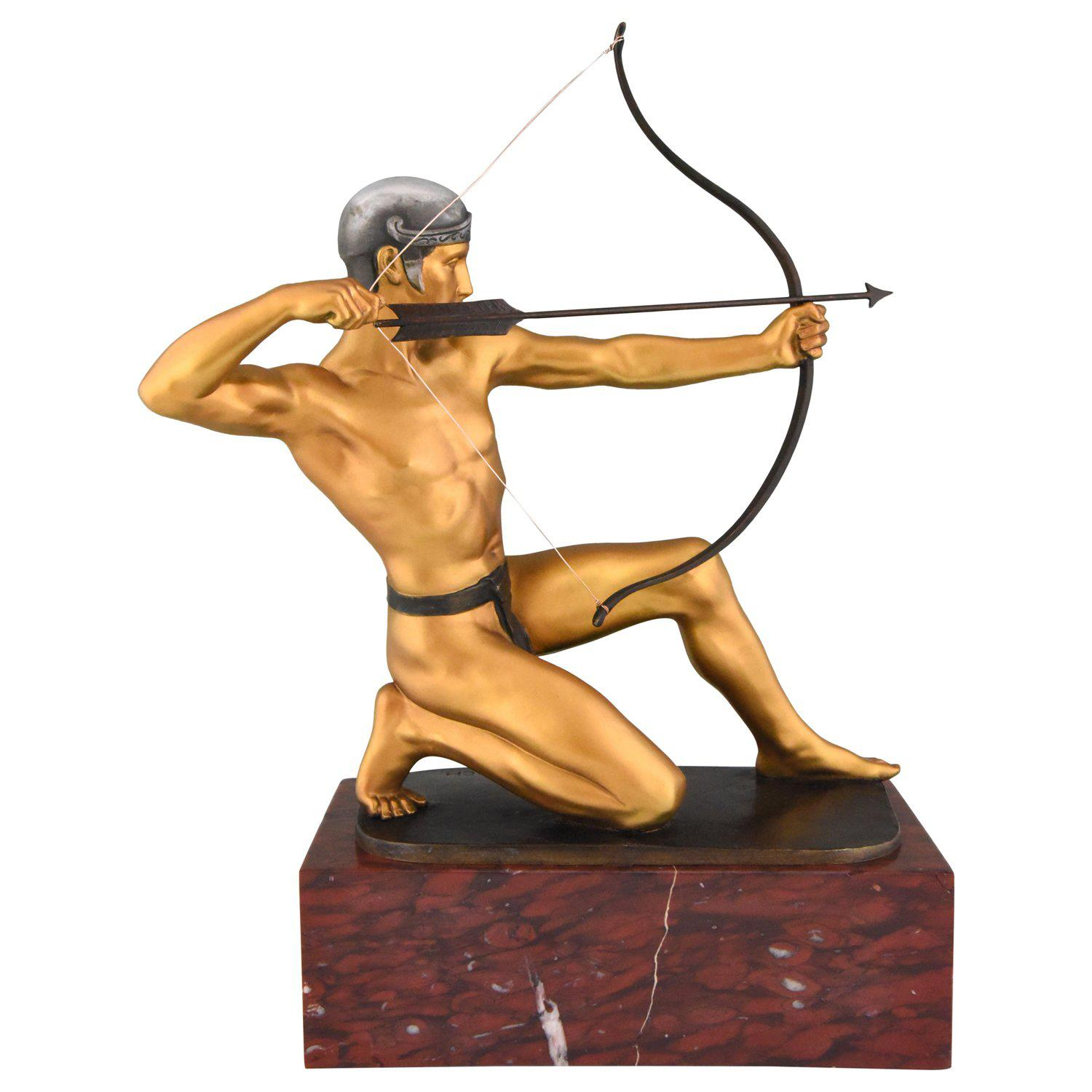 Antique Bronze Sculpture of a Male Nude Archer by Rudolf Kaesbach  1900