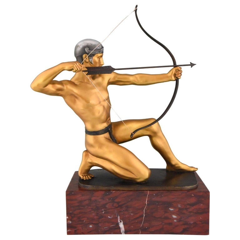 Antique Bronze Sculpture of a Male Nude Archer by Rudolf Kaesbach  1900 For Sale