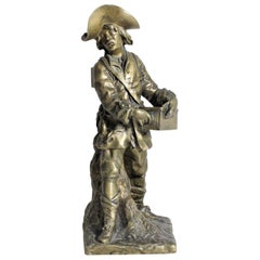 Antique Bronze Sculpture of a Young Victorian Male Wandering Showman