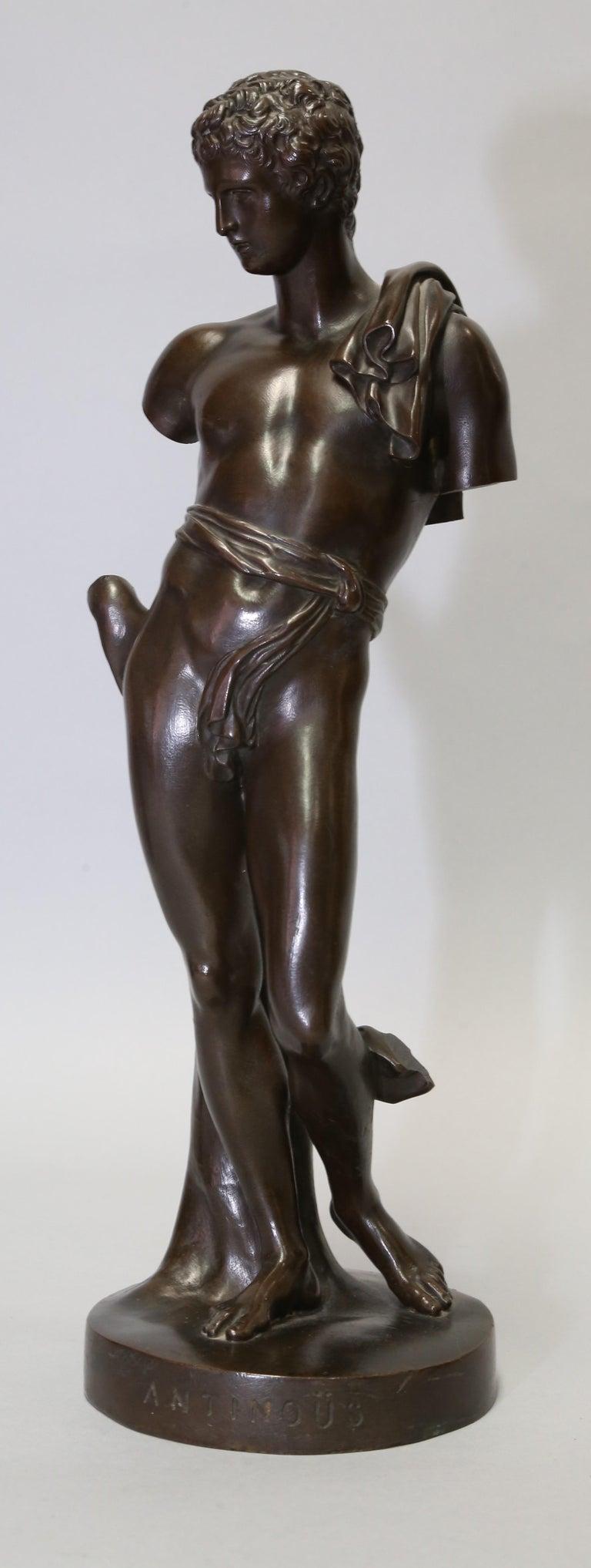 Antique Bronze Sculpture of Antinous of Belvedere, 19th Century, Italian For Sale 7
