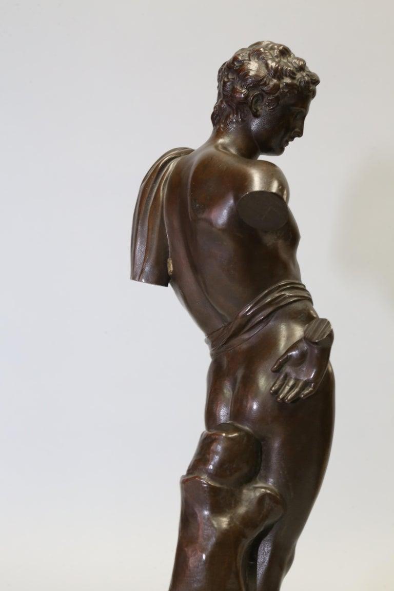 Classical Roman Antique Bronze Sculpture of Antinous of Belvedere, 19th Century, Italian For Sale