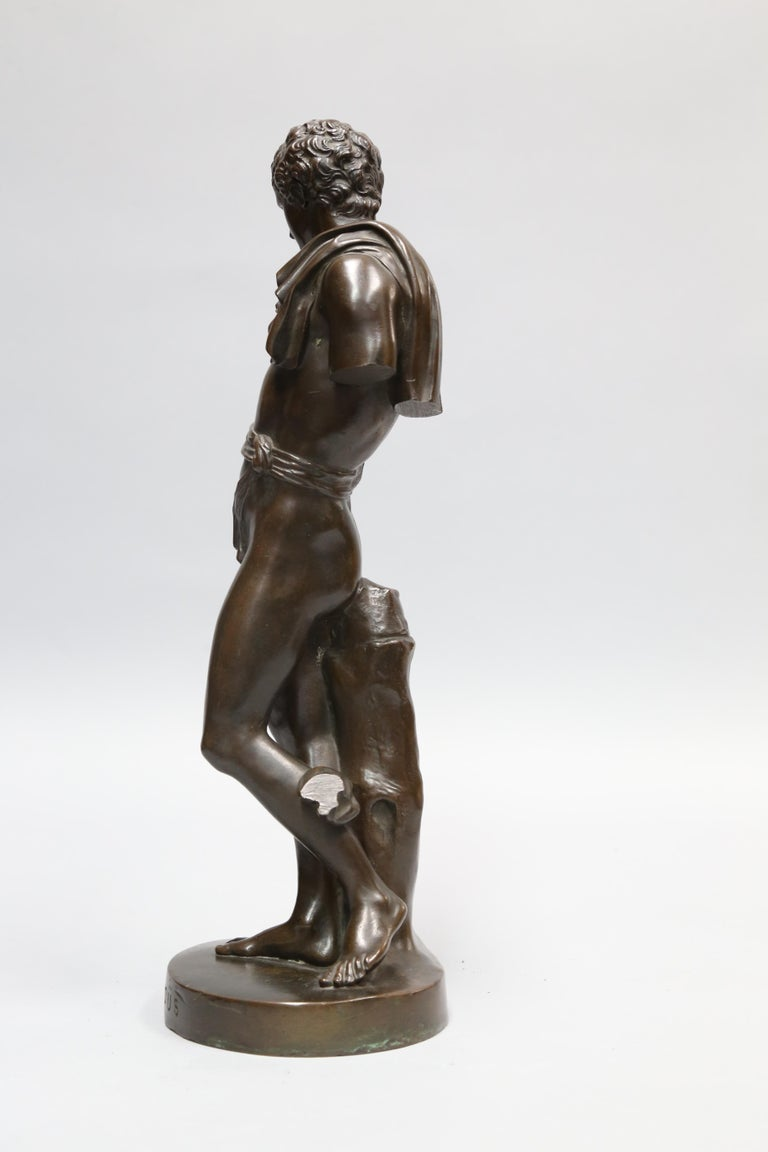Patinated Antique Bronze Sculpture of Antinous of Belvedere, 19th Century, Italian For Sale